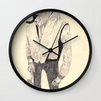 ryan gosling Wall Clocks featuring Ryan Gosling by withapencilinhand