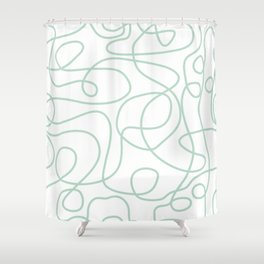 Doodle Line Art | Mint Green Lines on White Background Shower Curtain