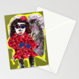 Mod Girl  In Winter Coat Stationery Cards