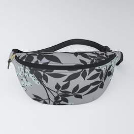 TREE BRANCHES BLACK AND GRAY WITH BLUE BERRIES Fanny Pack