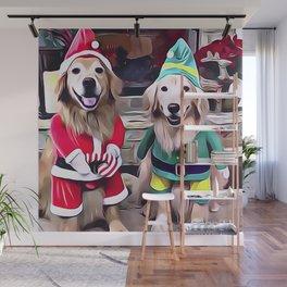 Golden Retrievers Santa's Helpers Wall Mural