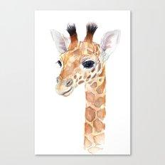 Baby Giraffe Cute Animal Watercolor Canvas Print