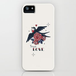 True Love | Old School Tattoo Print | Swallow And Roses iPhone Case