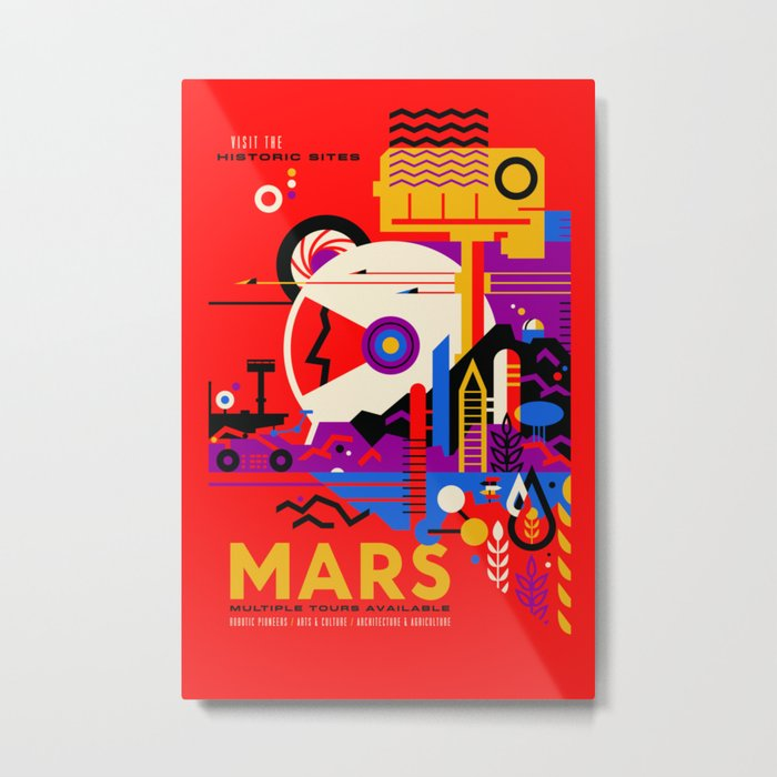 NASA Mars The Red Planet Retro Poster Futuristic Best Quality Metal Print