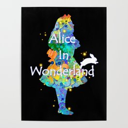 Colorful Watercolor Alice In Wonderland Poster