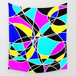 Randomly Retro Blue, Pink and Yellow Wall Tapestry