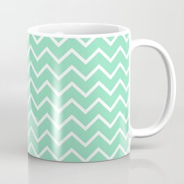 Zigzagged (White & Mint Pattern) Coffee Mug