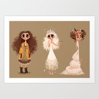 cinderella Art Prints featuring Cinderella by Anoosha Syed