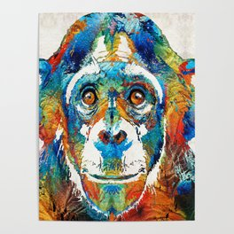 Colorful Chimp Art - Monkey Business - By Sharon Cummings Poster