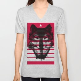 Red wolf white 4 Unisex V-Neck