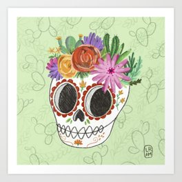 Fridita with flowers Art Print