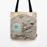 the thing Tote Bags featuring Thing. by Bläckbeärd