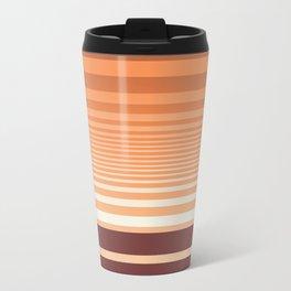 Ombre Horizontal Sienna and Orange Stripes Travel Mug