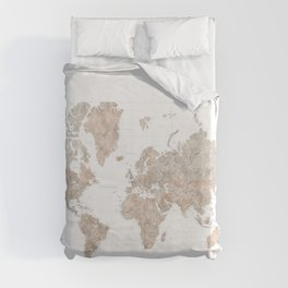 """Highly detailed watercolor world map, taupe and grey, """"Abey"""" Duvet Cover"""