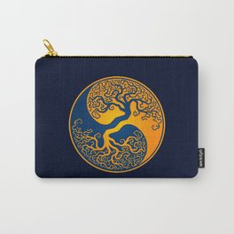 Blue and Yellow Tree of Life Yin Yang Carry-All Pouch