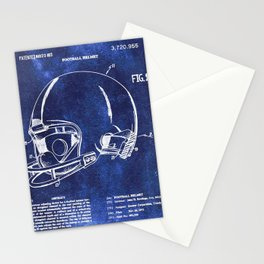 Football Helmet Patent Blueprint Drawing Stationery Cards
