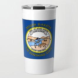 South Dakota Map with State Flag Travel Mug