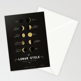 The Lunar Cycle • Phases of the Moon – Black & Gold Palette Stationery Cards