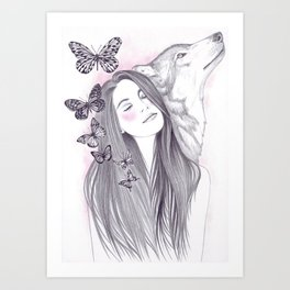 Wolf To The Moon Art Print