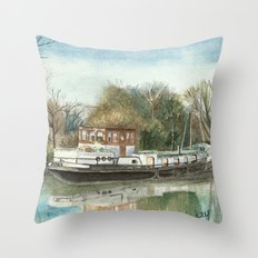 Rosa on the Grand Union Canal Throw Pillow