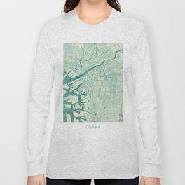 Osaka Map Blue Vintage Long Sleeve T-shirt