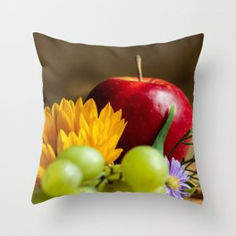 An autumn gifts still life on the blurred background Throw Pillow