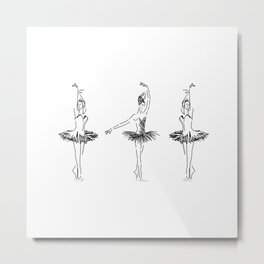 three ballerinas dancing . ( https://society6.com/vickonskey/collection ) Metal Print