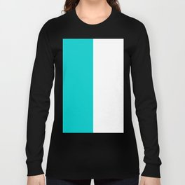 White and Cyan Vertical Halves Long Sleeve T-shirt