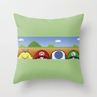 mario bros Throw Pillows featuring Mario Bros by Bazingfy