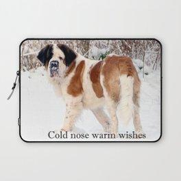 Snow sniffing St Bernard dog Laptop Sleeve