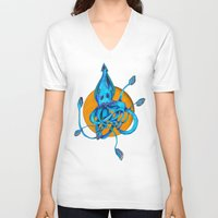 squid V-neck T-shirts featuring Squid by Ruth Wels