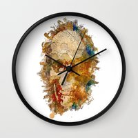 psychadelic Wall Clocks featuring Psychadelic Skull by In Full Color