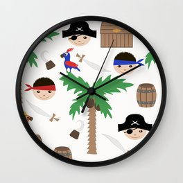 Seamless pirate colorful kids retro background pattern Wall Clock