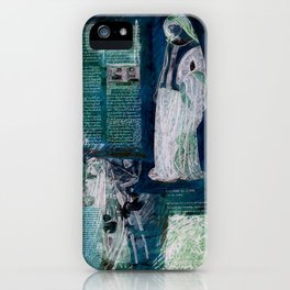 Medieval Moonlight Siren, Digital Collage Drawing iPhone Case