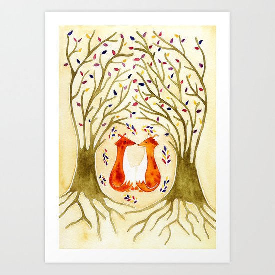 Two Foxes Meet In The Trees Art Print