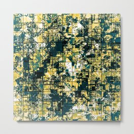 psychedelic geometric square pattern abstract background in green and yellow Metal Print