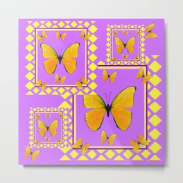 MODERN YELLOW BUTTERFLIES LILAC PURPLE PATTERN Metal Print