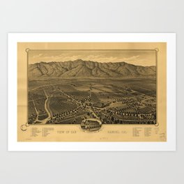 Aerial View of San Gabriel, California (1893) Art Print