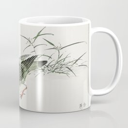 Japanese Magpie and Waterfall  from Pictorial Monograph of Birds (1885) by Numata Kashu (1838-1901) Coffee Mug