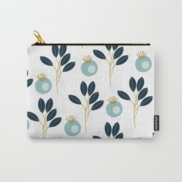 Blue Bold Floral Wallpaper Carry-All Pouch