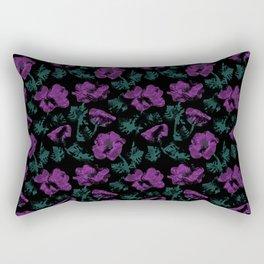Purple flowers on black background Rectangular Pillow