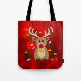 Christmas Reindeer in Lights Tote Bag