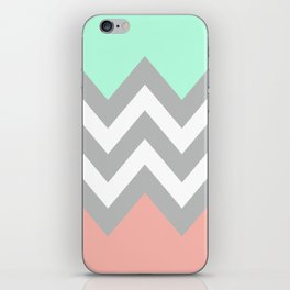 DOUBLE COLORBLOCK CHEVRON {MINT/CORAL/GRAY} iPhone Skin