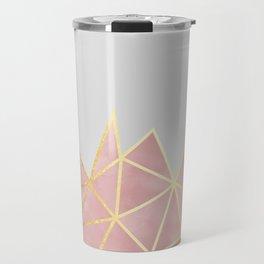 Pink & Gold Geometric Travel Mug