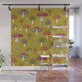 Funghi - Gold Wall Mural