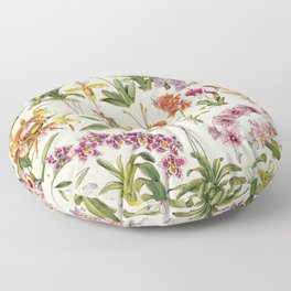 Adolphe Millot - Orchids - French vintage botanical illustration Floor Pillow