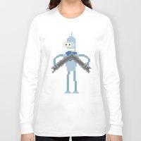 bender Long Sleeve T-shirts featuring Pixel Bender by Paul Scott (Dracula is Still a Threat)