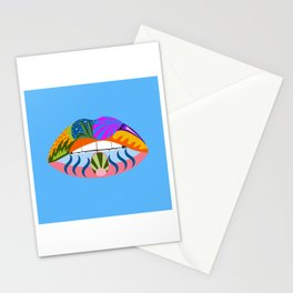 Lips with bold abstract patterns, blue retro pop art illustration Stationery Cards