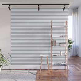 Pale Blue Grey and White Horizontal Stripes Wall Mural