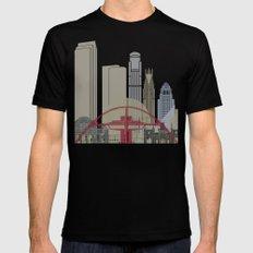 Los Angeles skyline poster Black Mens Fitted Tee MEDIUM